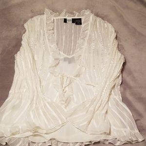 Studio 1940 sheer cream 2 piece blouse medium